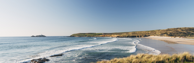 Godrevy Beach Near St Ives On The Coast Of Cornwall